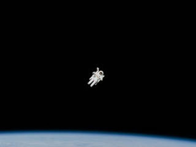 In February 1984, astronaut Bruce McCandless became the first astronaut to move about in space without being connected to a spacecraft. He used a jet-propelled backpack to move around.