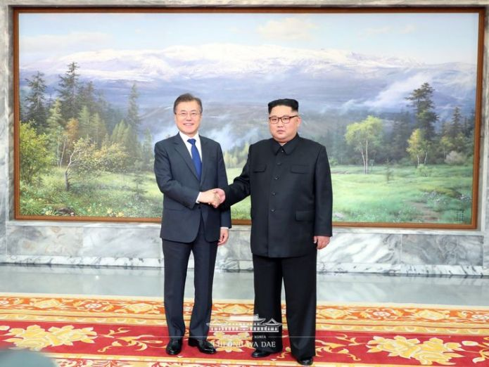 They met in the unification corner of North Panmunjom on the afternoon of 26 May Talks on N Korea summit 'going very well' Talks on N Korea summit 'going very well' skynews north korea south korea 4320817