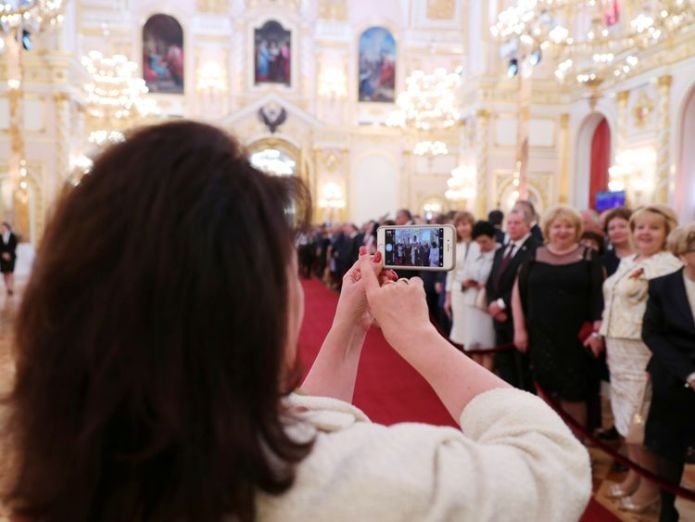 Guests gather before a ceremony to inaugurate Vladimir Putin as President of Russia at the Kremlin in Moscow, Russia May 7, 2018. Sputnik/Mikhail Klimentyev/Kremlin via REUTERS ATTENTION EDITORS - THIS IMAGE WAS PROVIDED BY A THIRD PARTY. vladimir putin has been sworn in as russian president Vladimir Putin has been sworn in as Russian president skynews russia putin inauguration 4303193