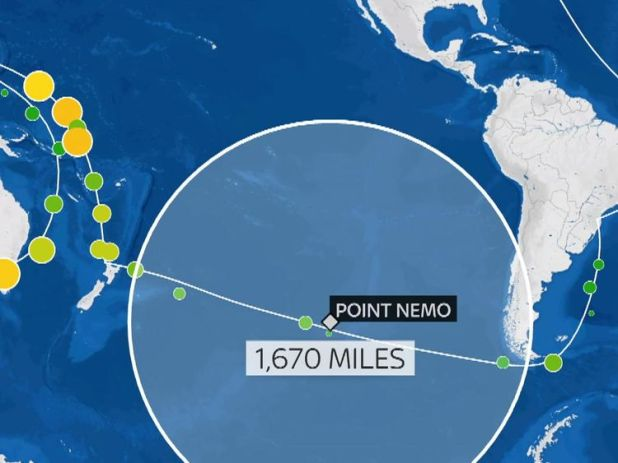 Point Nemo on a map