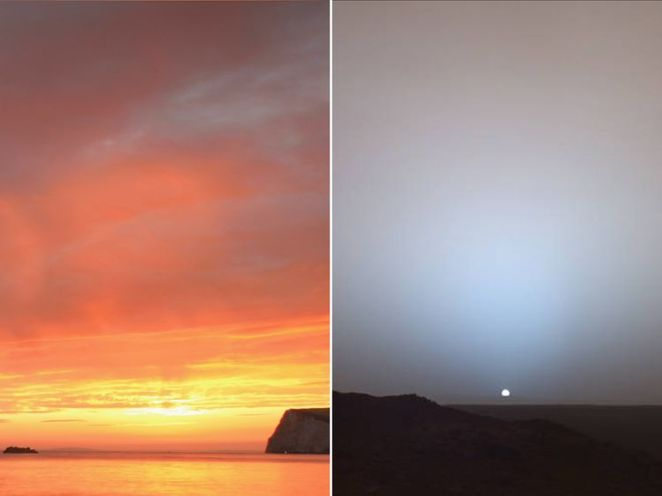 Composite of sunset in Dorset (L) and on Mars