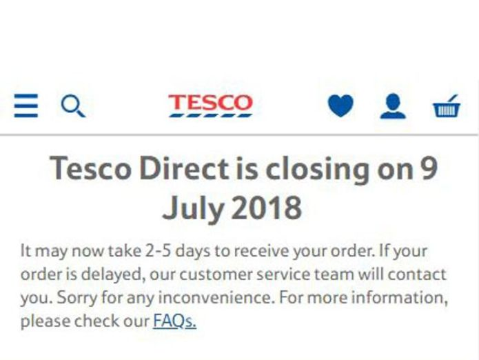 This message is shown when users log on to Tesco Direct Supermarket giant shuts non-food website Tesco Direct Supermarket giant shuts non-food website Tesco Direct skynews tesco direct screengrab 4317460