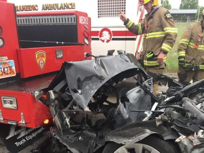 The Tesla Model S crashed into a fire department mechanics truck. Pic: South Jordan Police Department Tesla with autopilot crashes into truck at red light Tesla with autopilot crashes into truck at red light skynews tesla utah south jordan 4308433