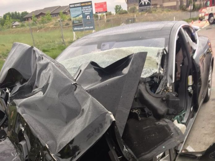 Police are finding out if the car was on autopilot. Pic: South Jordan Police Department Tesla with autopilot crashes into truck at red light Tesla with autopilot crashes into truck at red light skynews tesla utah south jordan 4308436