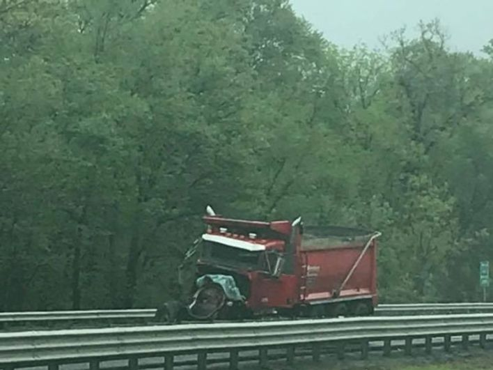 The red truck after the crash
