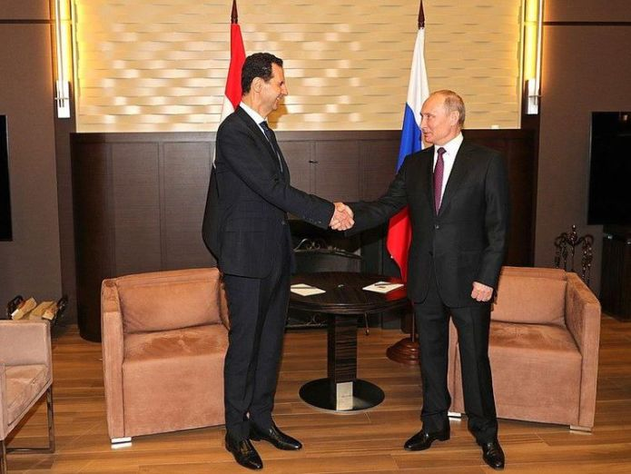 The leaders of Russia and Syria meet in Sochi (Pic: @KremlinRussia_E) 'Door open to political process' 'Door open to political process' skynews vladimir putin bashar al assad 4313270