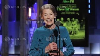 Glenda Jackson accepts the award for Best Performance by an Actress in a Leading Role in a Play for Three Tall Women Harry Potter And The Cursed Child among British winners at 72nd Tony Awards Harry Potter And The Cursed Child among British winners at 72nd Tony Awards skynews glenda jackson 4333193