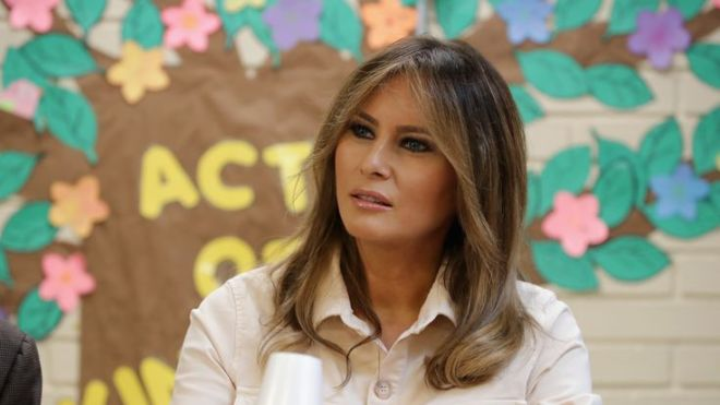 U.S. first lady Melania Trump participates in a round table discussion with agents and officials at the Ursula Border Patrol Processing Center June 21, 2018 in McAllen, Texas