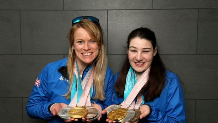 Menna Fitzpatrick (R) and her guide Jen Kehoe pose with their medals after the 2018 Paralympic Winter Games Stars recognised in Queen's birthday honours list Stars recognised in Queen's birthday honours list skynews menna fitzpatrick 4330368