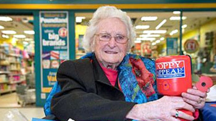 Rosemary Powell retires from poppy selling at 103 Stars recognised in Queen's birthday honours list Stars recognised in Queen's birthday honours list skynews rosemary powell royal british legion 4325389