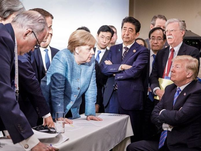 A photo shared on Angela Merkel's official Instagram account hints at tension among G7 leaders Donald Trump 'threatens to send 25 million Mexicans to Japan' Donald Trump 'threatens to send 25 million Mexicans to Japan' skynews angela merkel donald trump 4332085