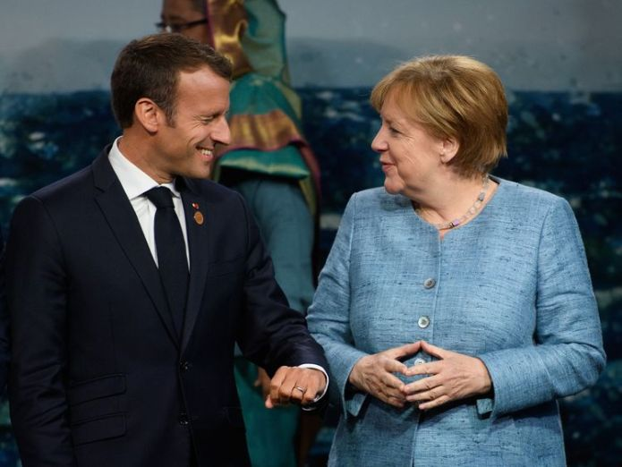 Mrs Merkel is hoping French president Emmanuel Macron will agree to a joint migrant proposal German Chancellor Angela Merkel's leadership under threat over migrant policy German Chancellor Angela Merkel's leadership under threat over migrant policy skynews angela merkel emmanuel macron 4338675