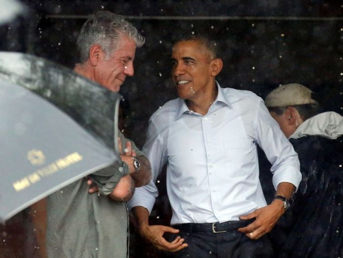 Bourdain with Barack Obama after an interview in Vietnam in May 2016 Celebrity chef dies in apparent suicide aged 61 Celebrity chef dies in apparent suicide aged 61 skynews bourdain anthony bourdain 4330906