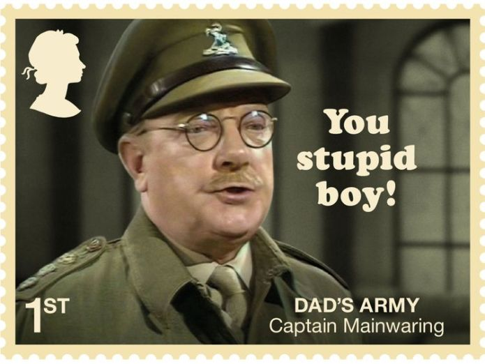 Bank manager Captain Mainwaring is featured with his catchprase 'You stupid boy' Dad's Army 50th anniversary celebrated with set of Royal Mail stamps Dad's Army 50th anniversary celebrated with set of Royal Mail stamps skynews captain mainwaring 4334151