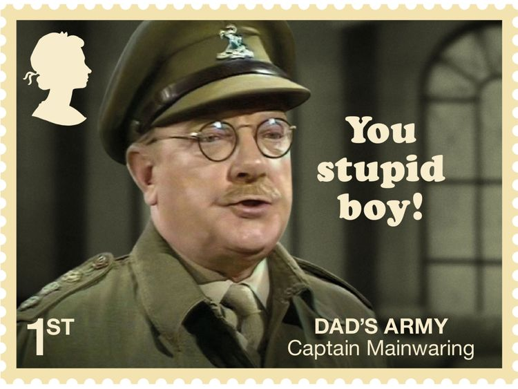 Bank manager Captain Mainwaring is featured with his catchprase 'You stupid boy'