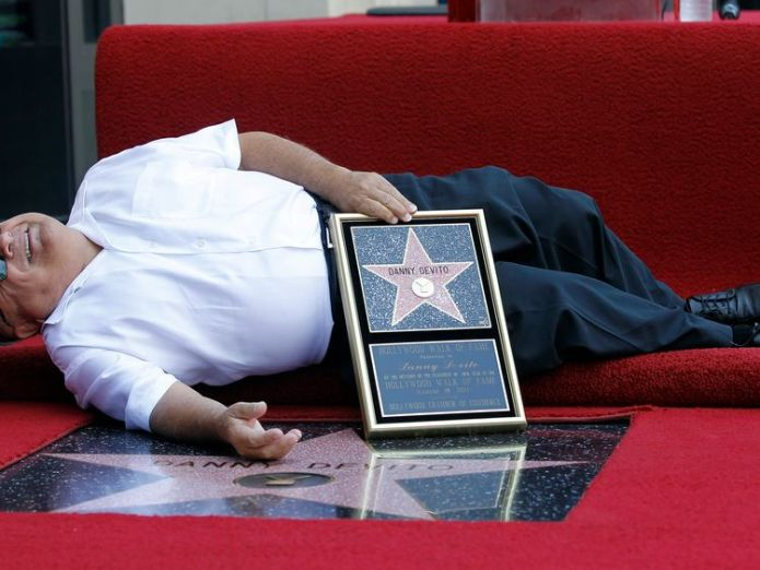 Actor Danny DeVito lies down by his star Jeff Goldblum gets Hollywood Walk of Fame star Jeff Goldblum gets Hollywood Walk of Fame star skynews danny devito star hollywood 4336718