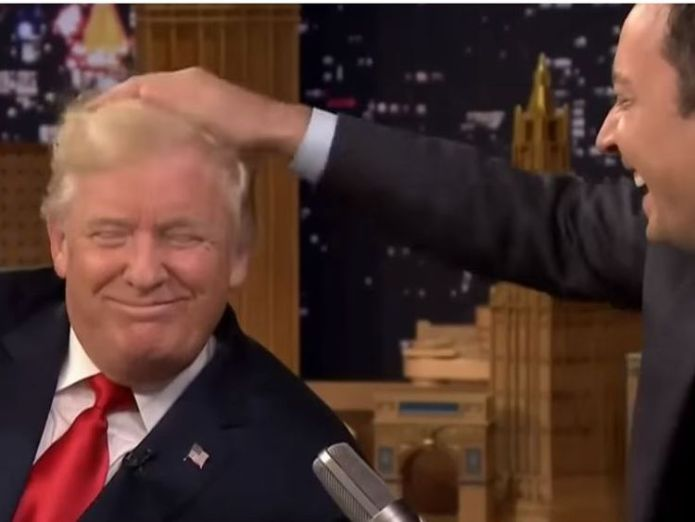 Donald Trump during his appearance on The Tonight Show with Jimmy Fallon. Pic: The Tonight Show/NBC Donald Trump tells 'whimpering' comedian Jimmy Fallon: 'Be a man!' Donald Trump tells 'whimpering' comedian Jimmy Fallon: 'Be a man!' skynews donald trump jimmy fallon 4345107