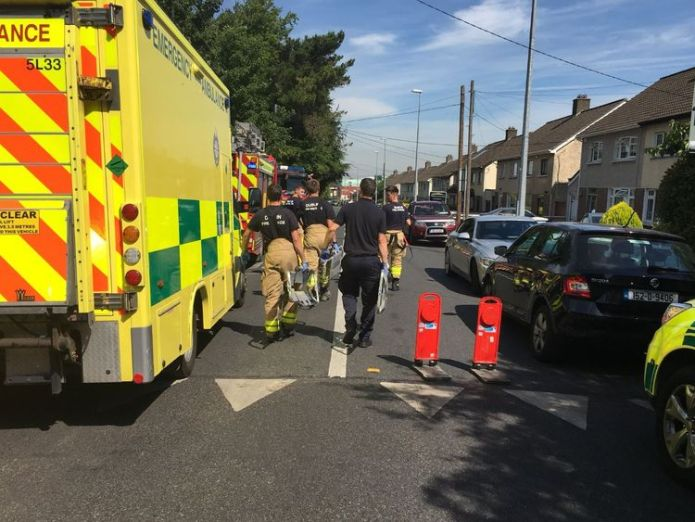 Emergency service vehicles are on the scene. Pic: Robin Schiller/Independent.ie Seven injured after priest falls ill and drives into them in Dublin Seven injured after priest falls ill and drives into them in Dublin skynews dublin priest crash 4345358