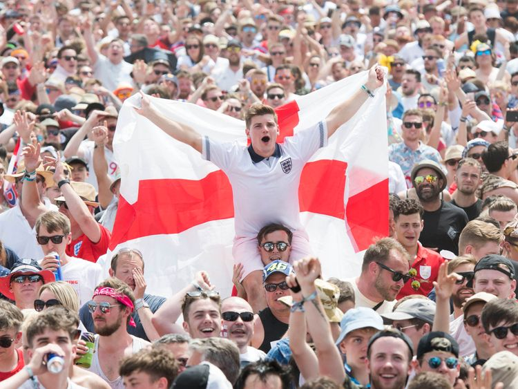England supporters and festival goers watch England v Panama during the Isle of Wight festival at Seaclose Park, Newport.Picture by: David Jensen/PA Wire/PA Images