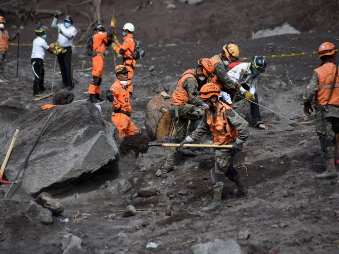 Volunteer firefighters search for victims Chance of finding anyone alive 'practically non-existent' Chance of finding anyone alive 'practically non-existent' skynews guatemala firefighters 4329812