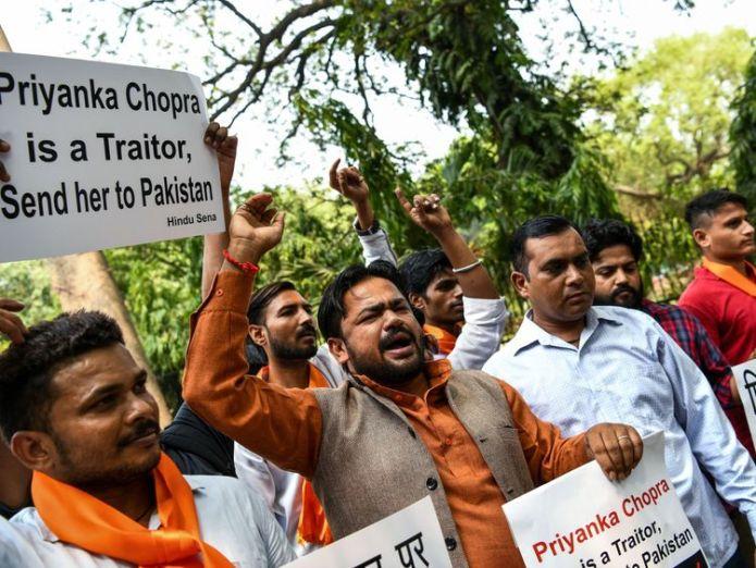 People protest, describing Priyanka Chopra as a traitor Priyanka Chopra apologises over Quantico Hindu storyline Priyanka Chopra apologises over Quantico Hindu storyline skynews india priyanka chopra 4332567