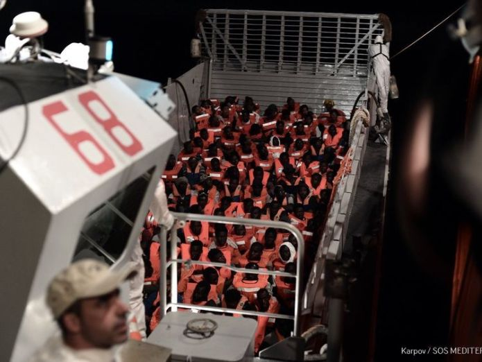 """Italy's new interior minister Matteo Salvini on Sunday said Malta cannot continue """"to look the other way"""" and urged it to open its ports to an NGO migrant rescue ship which is in the Mediterranean with hundreds of people on board. Credit: MSF / SOS Mediterranee  Italy shuts ports to rescue ship carrying over 600 migrants Italy shuts ports to rescue ship carrying over 600 migrants skynews italy refuses entry 4333003"""