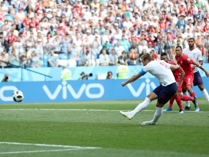 Harry Kane scores his team's fifth goal from the penalty spot  Team through to knockout stage of World Cup Team through to knockout stage of World Cup skynews kane england 4344647
