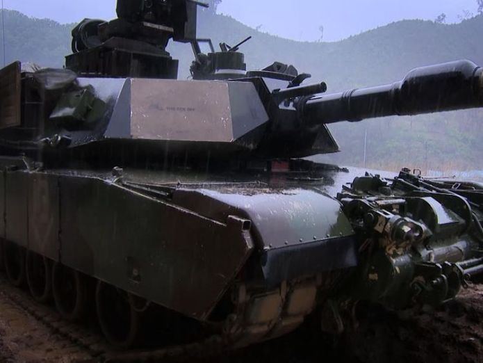 US troops doing tank drills in South Korea US troops in South Korea 'prepared for anything' US troops in South Korea 'prepared for anything' skynews korea american 4332200