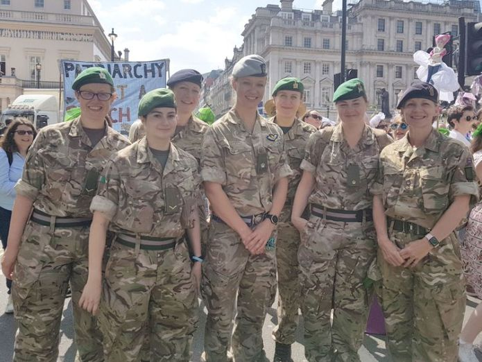 Soldiers joined the march in London on Sunday