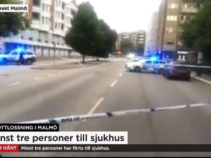 Police are at the scene of the shooting. Pic: TV4 Sweden Four people wounded in Sweden shooting Four people wounded in Sweden shooting skynews malmo shooting 4339610