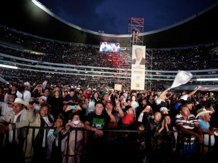 More than 80,000 people attended Lopez Obrador's last rally  Andres Manuel Lopez Obrador – dubbed 'Mexico's Donald Trump' skynews mexico election 4349369