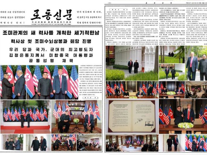 North Korean newspaper Rodong Sinmun dominated by news of the Trump-Kim summit