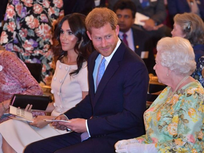 The Queen with the Duke and Duchess of Sussex Queen joins Harry and Meghan to honour young leaders at star-studded bash Queen joins Harry and Meghan to honour young leaders at star-studded bash skynews queen royal harry meghan 4346633