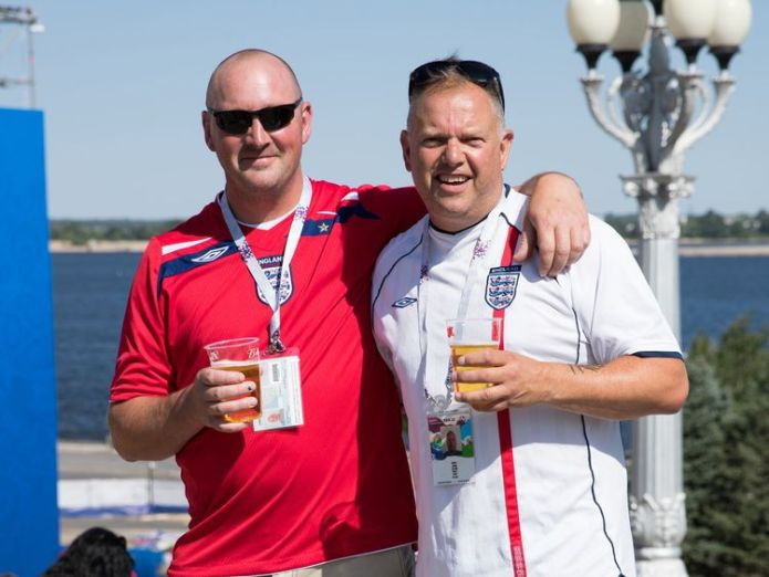 Martin Barnes (left) and Dave Inniss said people were 'really nice' England fans arrive in Russia for first game England fans arrive in Russia for first game skynews russia world cup 4337907