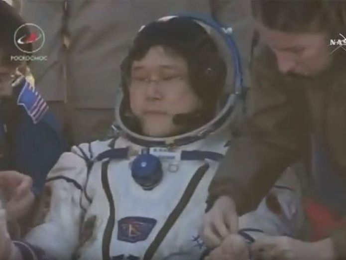 Japanese astronaut Norishige Kanai after emerging from the capsule Astronauts leave International Space Station and return to Earth after 2,600 orbits Astronauts leave International Space Station and return to Earth after 2,600 orbits skynews soyuz iss 4327208