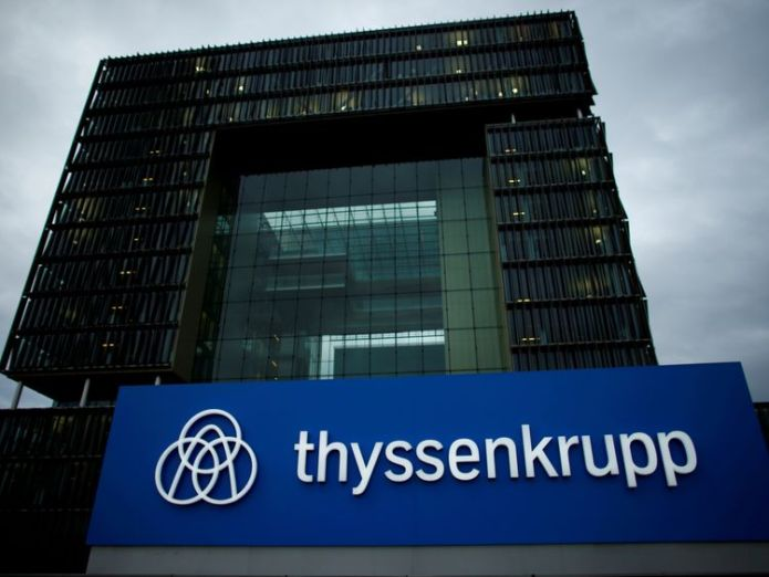 A logo of ThyssenKrupp AG is pictured outside their headquarters in Essen  Tata Steel and German firm Thyssenkrupp agree merger deal skynews thyssenkrupp steelworks 4349367