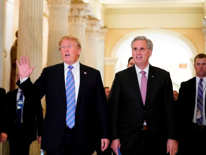 Donald Trump (L) with US House Majority Leader Kevin McCarthy after a closed-doors meeting Trump set to end migrant family separations Trump set to end migrant family separations skynews trump us border immigration 4340830