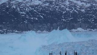 4-mile-wide iceberg detaches itself in Greenland  Massive iceberg threatens Greenland village as residents are evacuated skynews iceberg detaching greenland 4360191