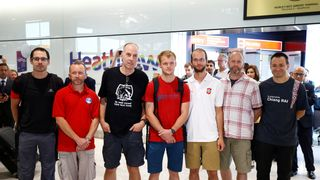 British cave divers, Rick Stanton, Chris Jewell, Connor Roe, Josh Bratchley, Jim Warny, Mike Clayton and Gary Mitchell, arrive back at Heathrow Airport, having helped in the rescue of the 12 boys in Thailand  Cave rescue boys will be able to leave hospital next week skynews thailand cave rescue 4360850