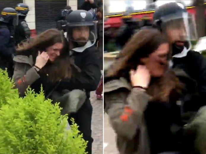 Alexandre Benalla dragging a female protester. Pic: Taha Bouhafs  Macron fires aide Alexandre Benalla who stamped on protester skynews alexandre benalla macron security 4365990