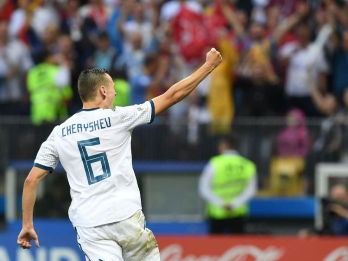 Midfielder Denis Cheryshev celebrates after scoring in the shoot-out  Russia stun Spain on penalties to make last eight skynews denis cheryshev world cup 4350782