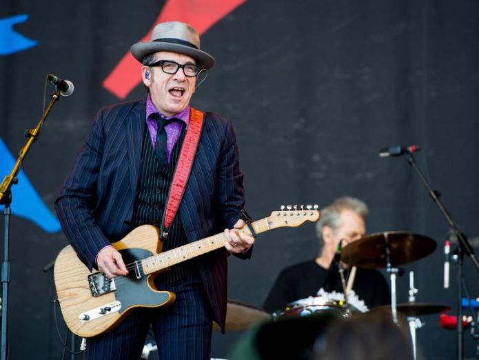 Elvis Costello performing on the Pyramid Stage at Glastonbury Festival , 2013  Elvis Costello cancels European tour after cancer operation skynews elvis costello glastonbury festival 2013 4354563