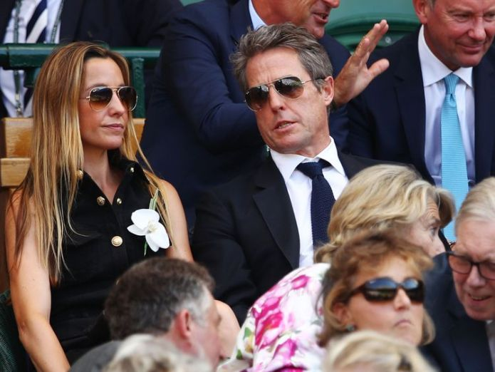 Anna Eberstein and Hugh Grant attend the men's singles final   Djokovic defeats Anderson in straight sets to win Wimbledon skynews hugh grant mens single final 4362625