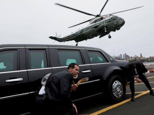 Mr Trump is set to travel on helicopter Marine One and also use bulletproof limo 'The Beast'
