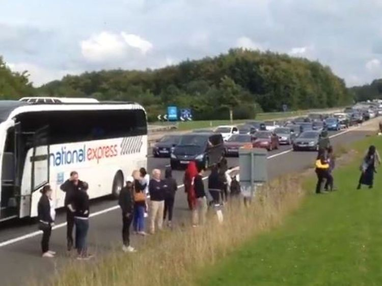 Thousands of people were stranded on the motorway