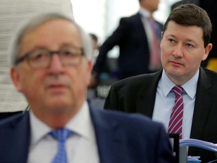 Martin Selmayr (right) is a key ally of Jean-Claude Juncker  'Brexit nemesis' angers England fans with tweet gloating about Croatia defeat skynews martin selmayr jean claude juncker 4359697