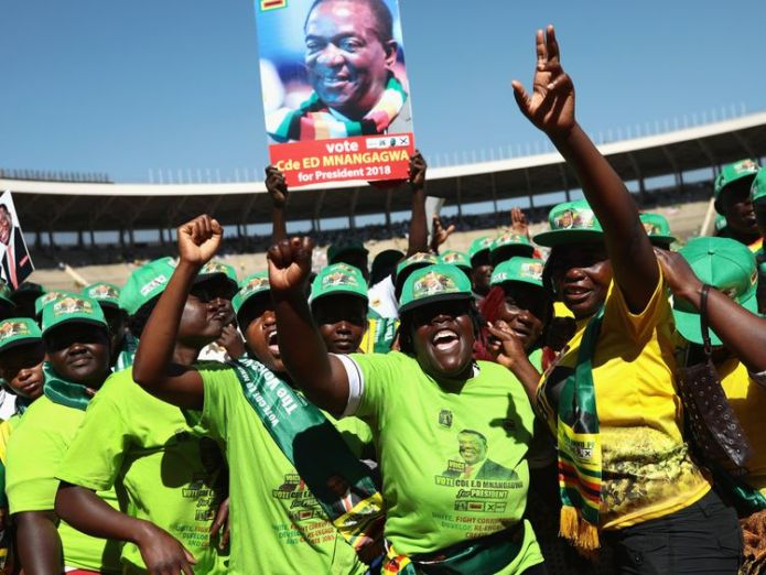 President Emmerson Mnangagwa speaks during the final rally of ZANU-PF ahead of the Zimbabwe elections on Monday at the National Sports Stadium on July 28, 2018 in Harare, Zimbabwe. Zimbabweans go to the polls on July 30th to vote for a new president in the first election since Robert Mugabe, who led the country for 37 years after it gained independence in 1980, was ousted from power last year.  Robert Mugabe takes swipe at President Emmerson Mnangagwa skynews mnangagwa zimbabwe 4373988