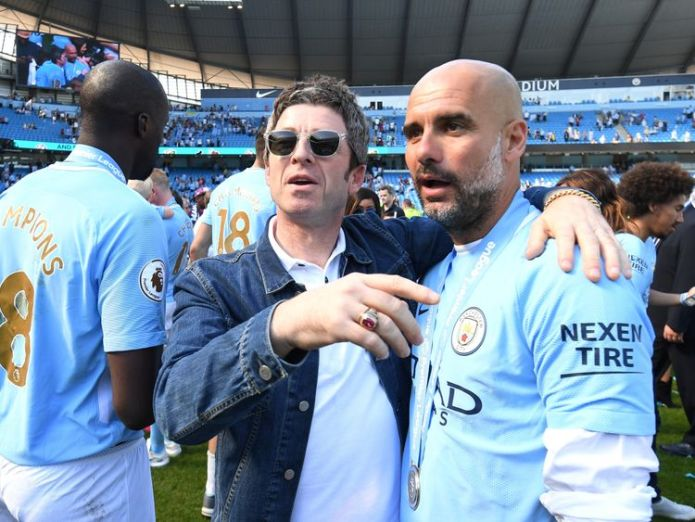 Noel Gallagher with Man City boss Pep Guardiola in May this year  It's time to get 'the Big O back together' skynews noel gallagher guardiola 4366492