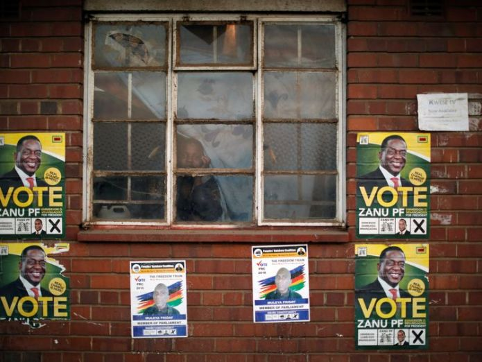 Mr Mnangagwa is hoping for a mandate to continue as president  Zimbabweans vote in first election without Robert Mugabe on ballot paper skynews zimbabwe mnangagwa 4375619