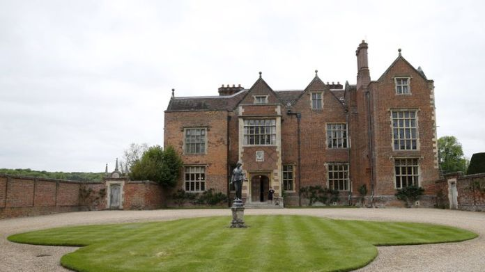 The main entrance to Checkers, the Prime Minister's official country residence near Ellesborough in Buckinghamshire